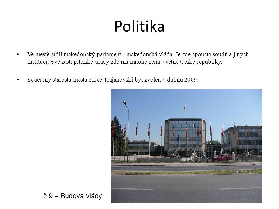 Politika Ve městě sídlí makedonský parlament i makedonská vláda. Je zde spousta soudů a jiných institucí. Své zastupitelské úřady zde má mnoho zemí vč