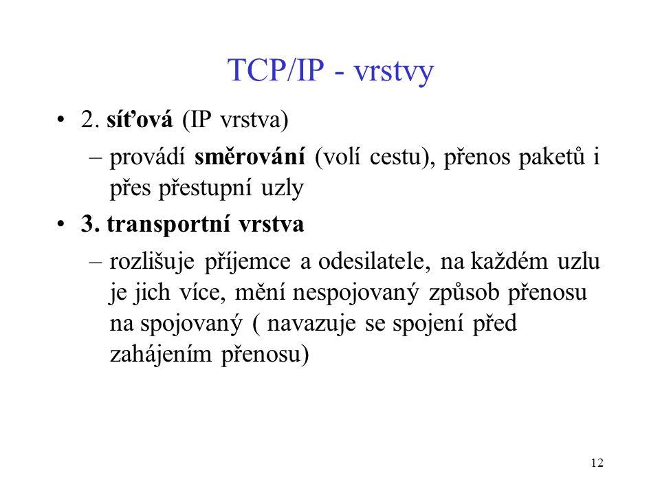 12 TCP/IP - vrstvy 2. síťová (IP vrstva) –provádí směrování (volí cestu), přenos paketů i přes přestupní uzly 3. transportní vrstva –rozlišuje příjemc