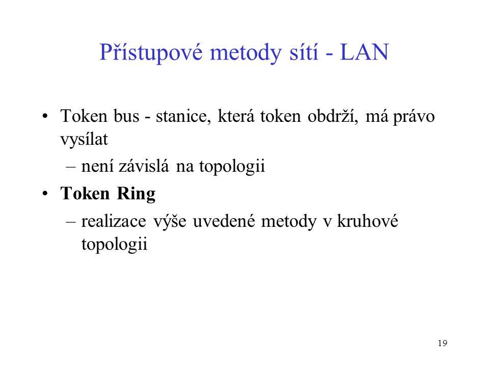 19 Přístupové metody sítí - LAN Token bus - stanice, která token obdrží, má právo vysílat –není závislá na topologii Token Ring –realizace výše uveden