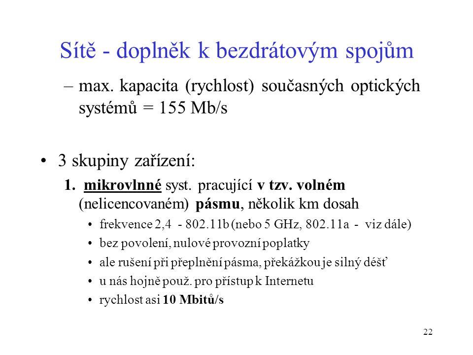 22 Sítě - doplněk k bezdrátovým spojům –max. kapacita (rychlost) současných optických systémů = 155 Mb/s 3 skupiny zařízení: 1. mikrovlnné syst. pracu