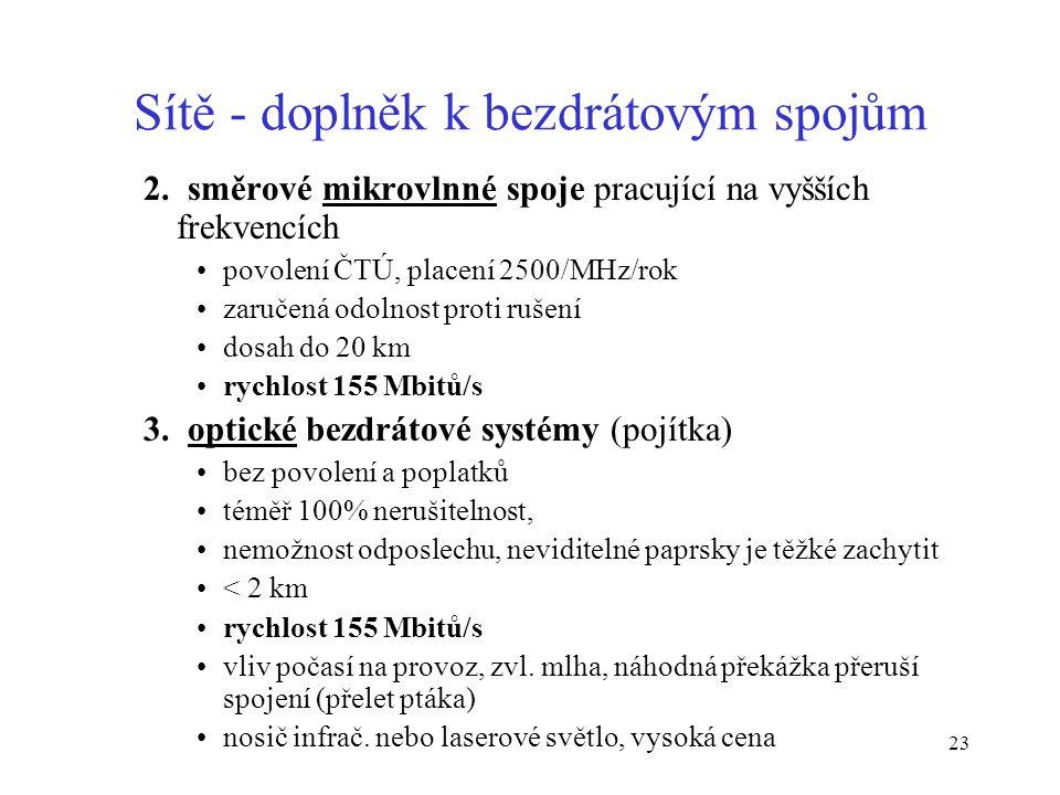 23 Sítě - doplněk k bezdrátovým spojům 2. směrové mikrovlnné spoje pracující na vyšších frekvencích povolení ČTÚ, placení 2500/MHz/rok zaručená odolno