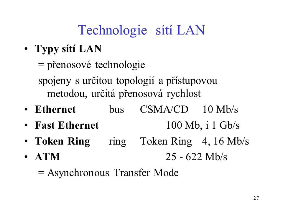 27 Technologie sítí LAN Typy sítí LAN = přenosové technologie spojeny s určitou topologií a přístupovou metodou, určitá přenosová rychlost Ethernet bu