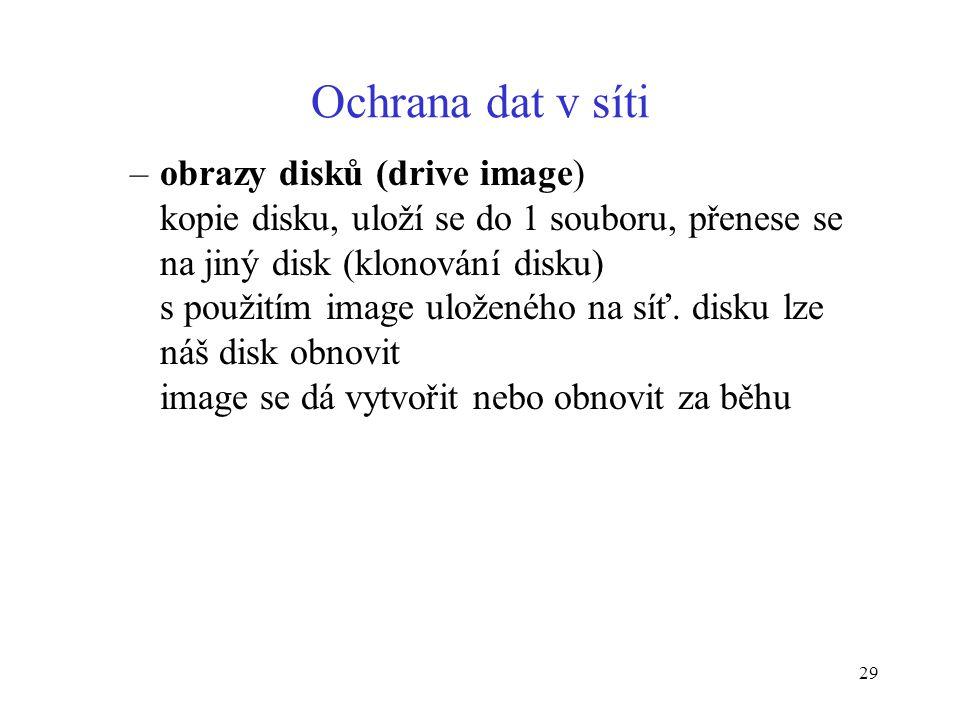 29 Ochrana dat v síti –obrazy disků (drive image) kopie disku, uloží se do 1 souboru, přenese se na jiný disk (klonování disku) s použitím image ulože