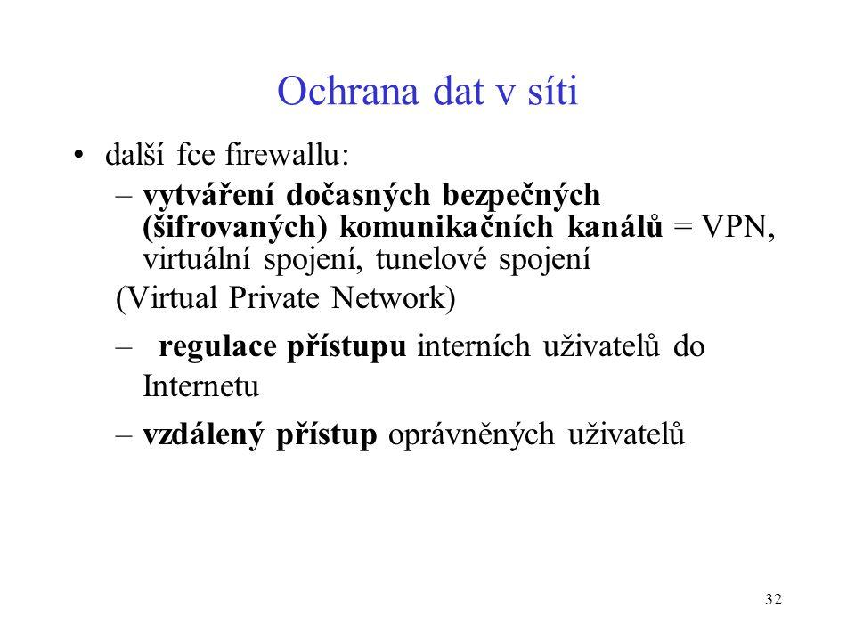 32 Ochrana dat v síti další fce firewallu: –vytváření dočasných bezpečných (šifrovaných) komunikačních kanálů = VPN, virtuální spojení, tunelové spoje