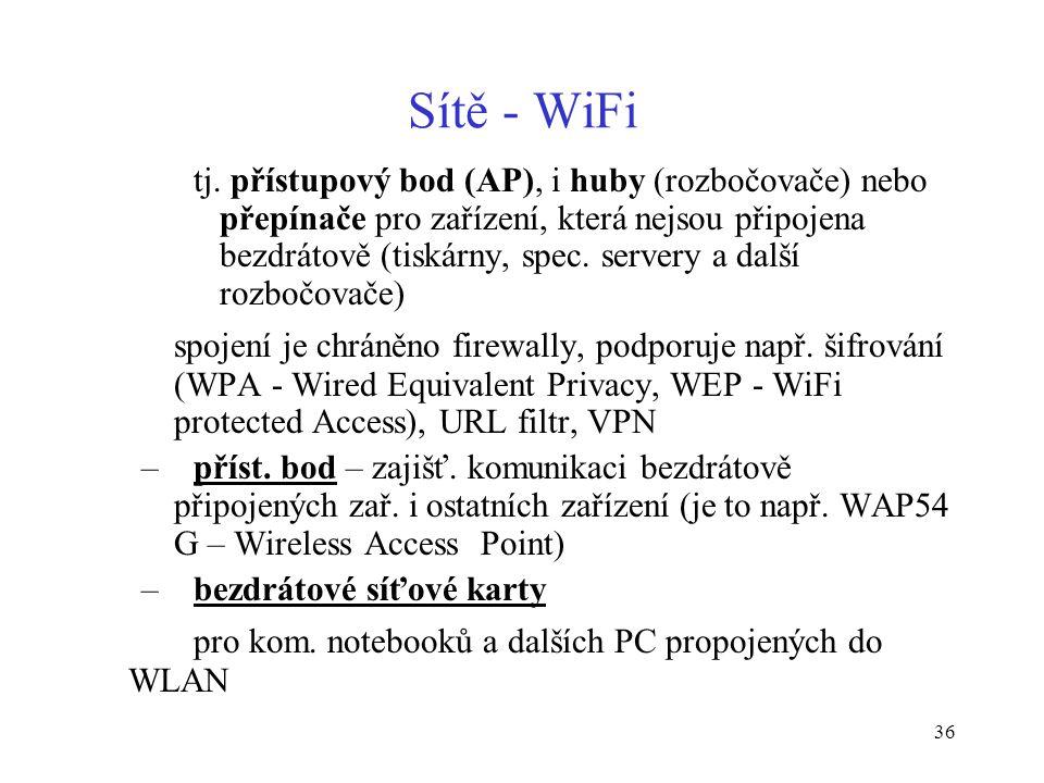 36 Sítě - WiFi tj. přístupový bod (AP), i huby (rozbočovače) nebo přepínače pro zařízení, která nejsou připojena bezdrátově (tiskárny, spec. servery a