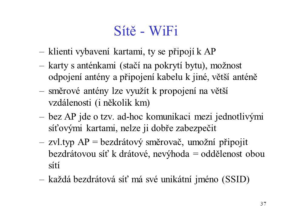 37 Sítě - WiFi –klienti vybavení kartami, ty se připojí k AP –karty s anténkami (stačí na pokrytí bytu), možnost odpojení antény a připojení kabelu k