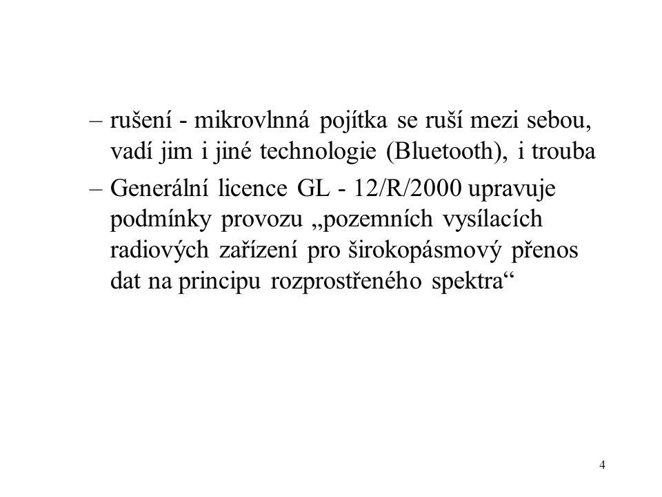 4 –rušení - mikrovlnná pojítka se ruší mezi sebou, vadí jim i jiné technologie (Bluetooth), i trouba –Generální licence GL - 12/R/2000 upravuje podmín