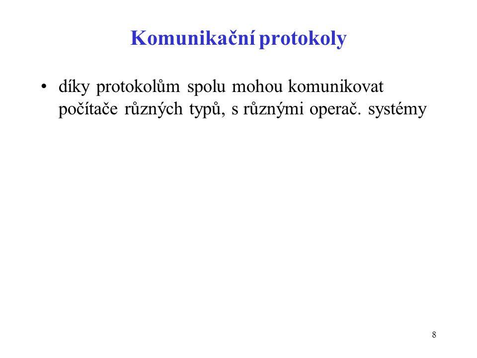 8 Komunikační protokoly díky protokolům spolu mohou komunikovat počítače různých typů, s různými operač. systémy