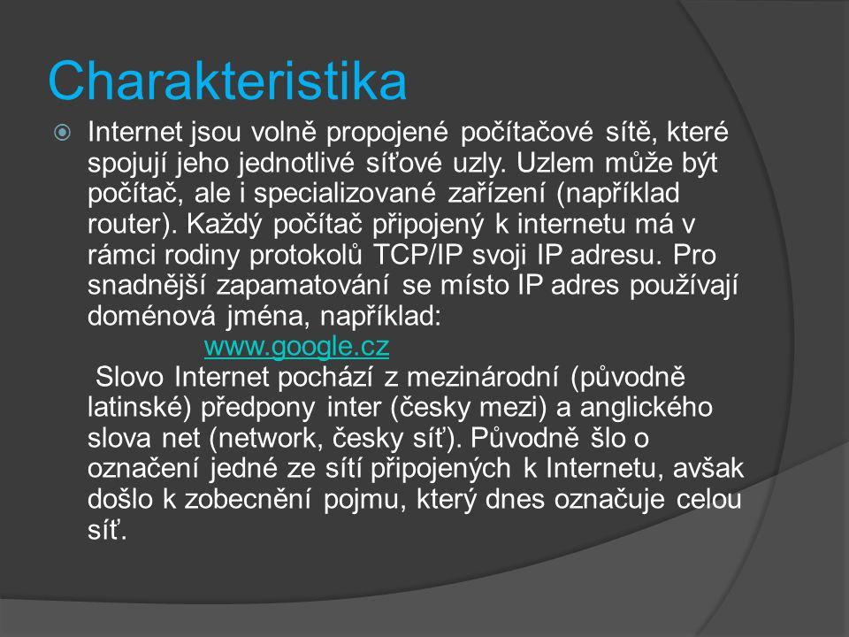 Charakteristika  Internet jsou volně propojené počítačové sítě, které spojují jeho jednotlivé síťové uzly. Uzlem může být počítač, ale i specializova