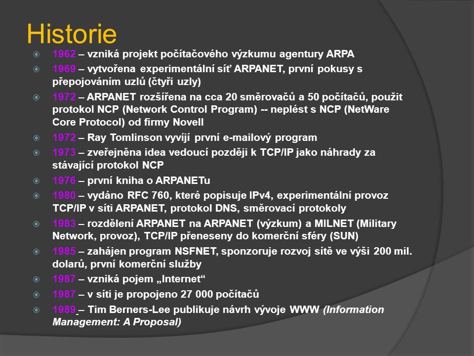 Historie  1962 – vzniká projekt počítačového výzkumu agentury ARPA  1969 – vytvořena experimentální síť ARPANET, první pokusy s přepojováním uzlů (č