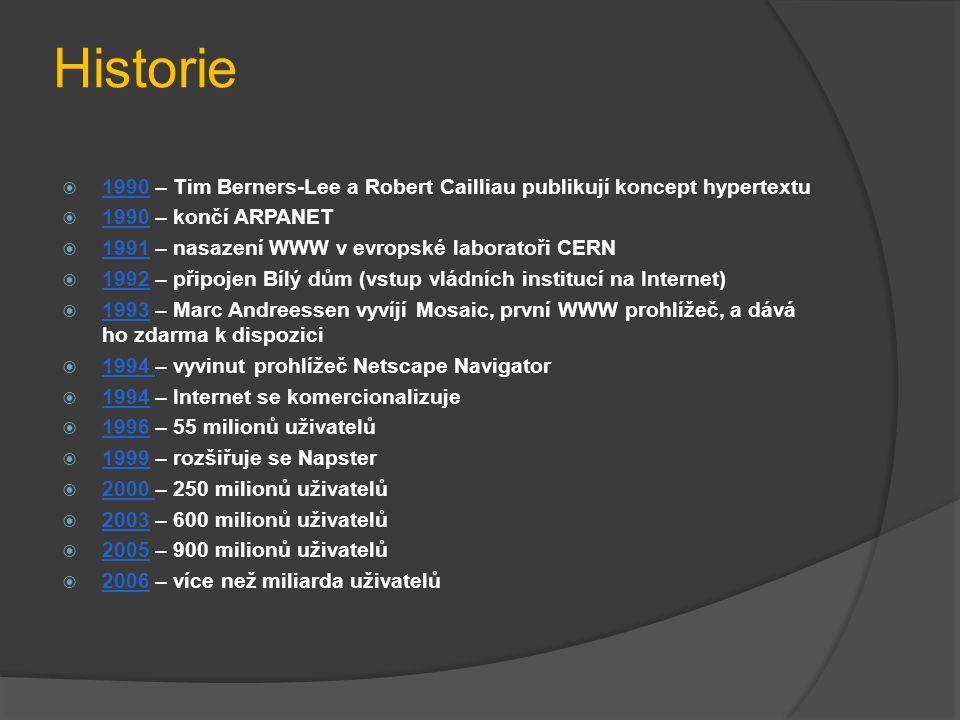 Historie  1990 – Tim Berners-Lee a Robert Cailliau publikují koncept hypertextu  1990 – končí ARPANET  1991 – nasazení WWW v evropské laboratoři CE