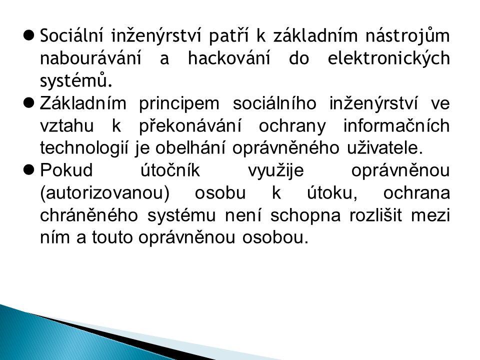 Sociální inženýrství patří k základním nástrojům nabourávání a hackování do elektronických systémů.