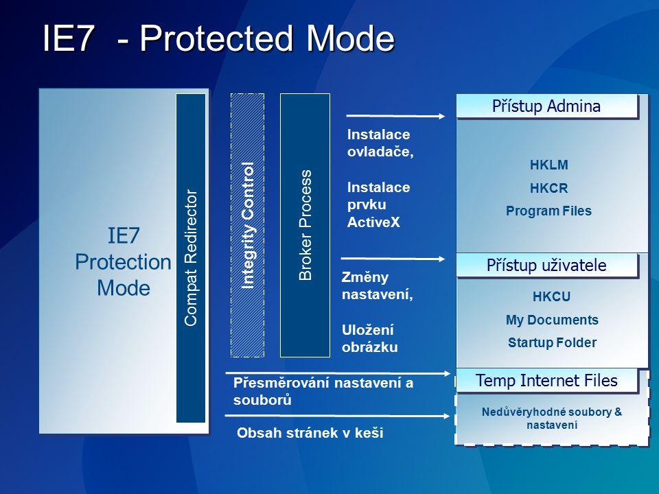 IE7 - Protected Mode IE7 Protection Mode IE7 Protection Mode Instalace ovladače, Instalace prvku ActiveX Změny nastavení, Uložení obrázku Integrity Co
