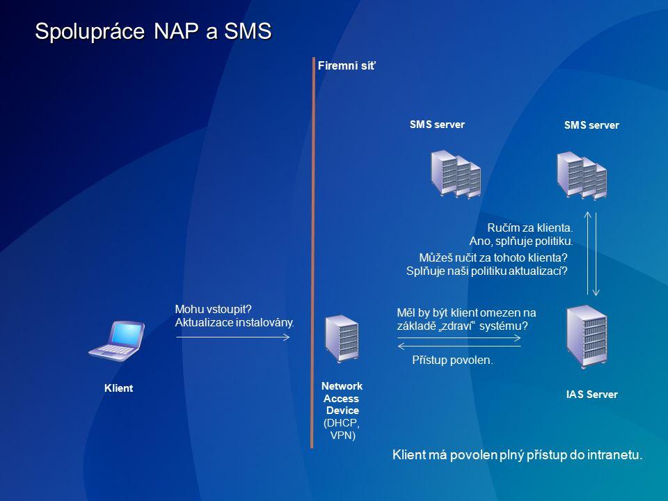 Spolupráce NAP a SMS IAS Server Klient Network Access Device (DHCP, VPN) SMS server Mohu vstoupit? Aktualizace instalovány. Měl by být klient omezen n