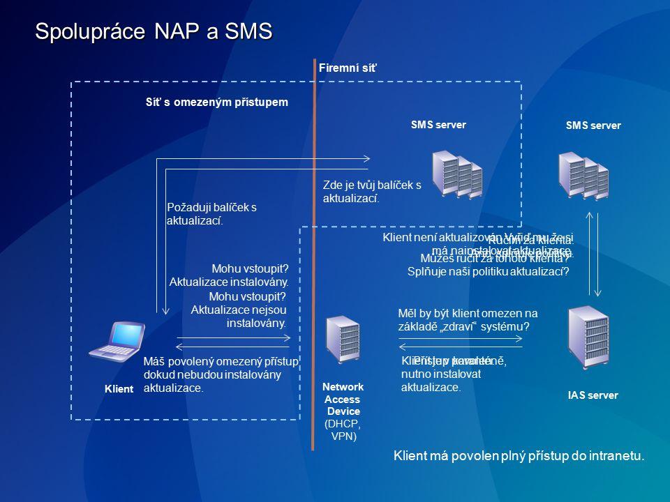 Spolupráce NAP a SMS IAS server Klient Network Access Device (DHCP, VPN) SMS server Mohu vstoupit? Aktualizace nejsou instalovány. Měl by být klient o