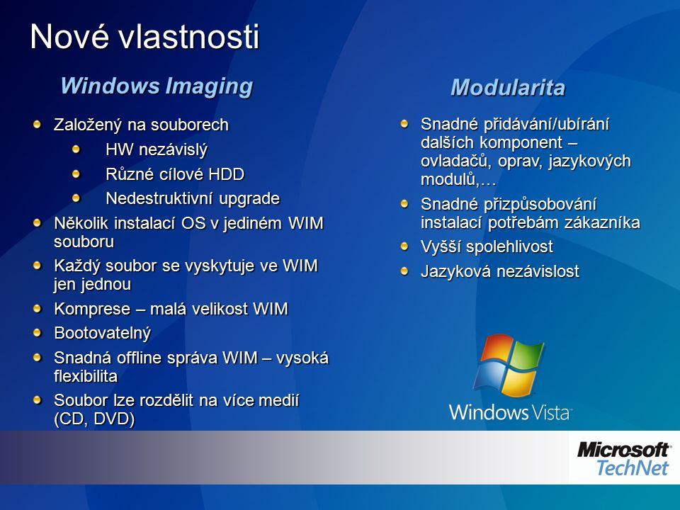 Windows Imaging Nové vlastnosti Modularita Založený na souborech HW nezávislý Různé cílové HDD Nedestruktivní upgrade Několik instalací OS v jediném W