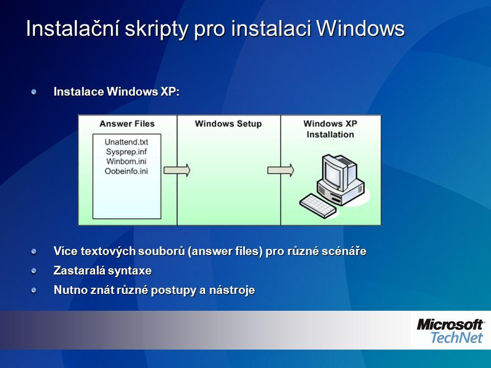 Instalační skripty pro instalaci Windows Instalace Windows XP: Více textových souborů (answer files) pro různé scénáře Zastaralá syntaxe Nutno znát rů
