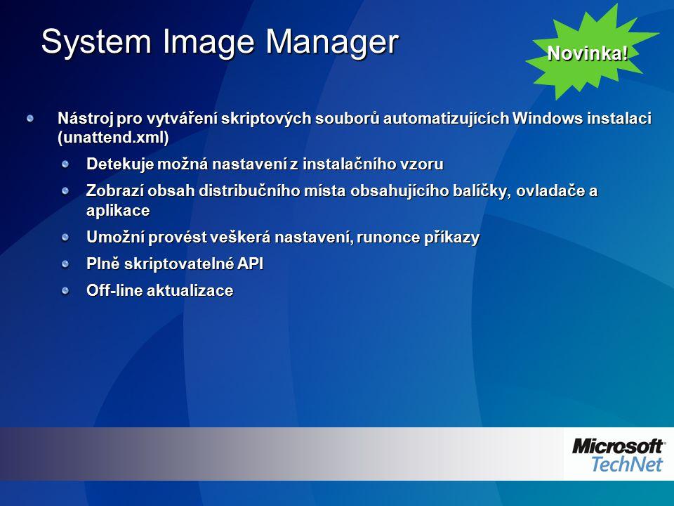 System Image Manager Nástroj pro vytváření skriptových souborů automatizujících Windows instalaci (unattend.xml) Detekuje možná nastavení z instalační