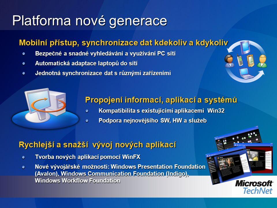 Platforma nové generace Rychlejší a snažší vývoj nových aplikací Mobilní přístup, synchronizace dat kdekoliv a kdykoliv Bezpečné a snadné vyhledávání