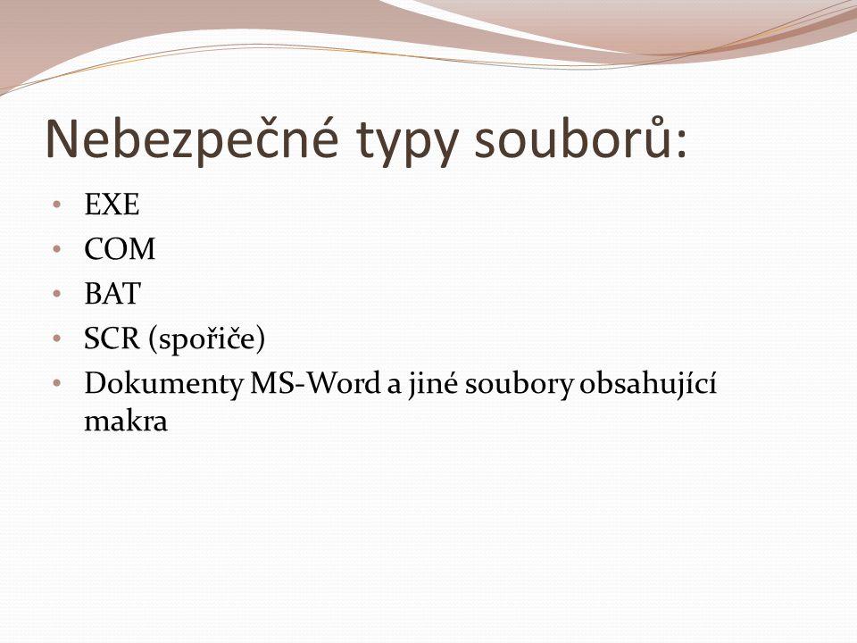 Nebezpečné typy souborů: EXE COM BAT SCR (spořiče) Dokumenty MS-Word a jiné soubory obsahující makra