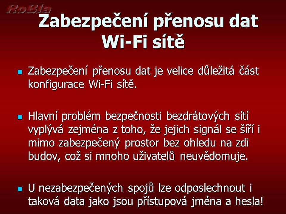 Zabezpečení přenosu dat Wi-Fi sítě Zabezpečení přenosu dat Wi-Fi sítě Zabezpečení přenosu dat je velice důležitá část konfigurace Wi-Fi sítě.