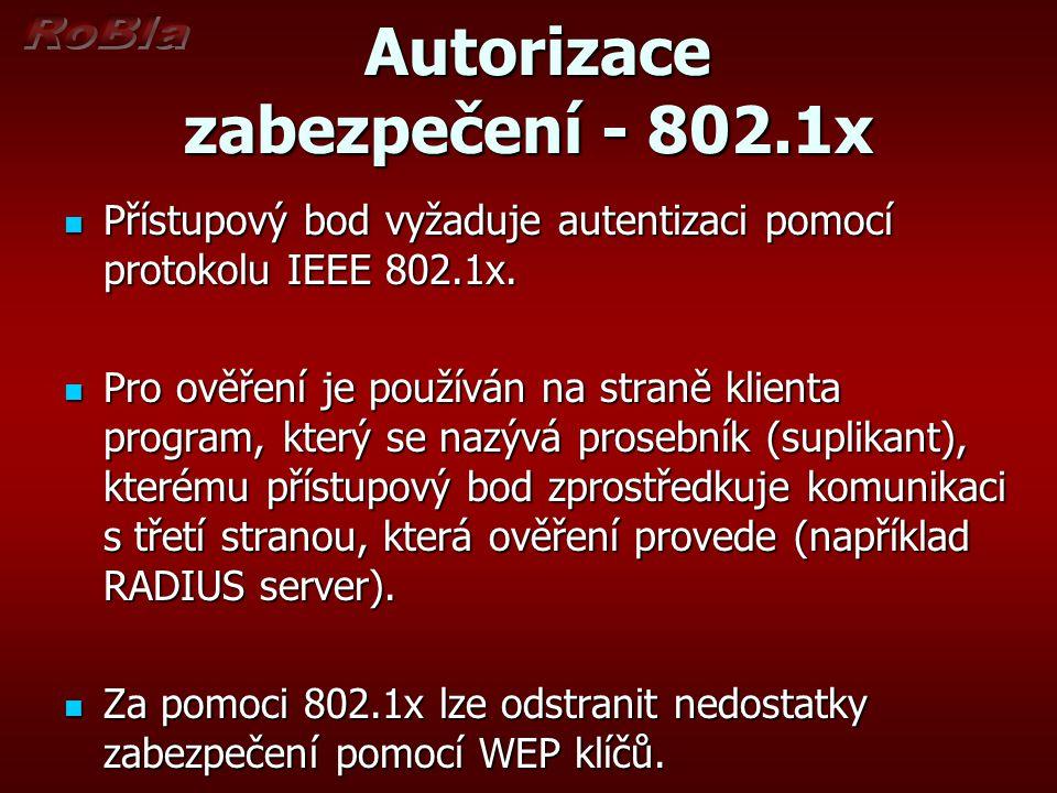 Autorizace zabezpečení - 802.1x Autorizace zabezpečení - 802.1x Přístupový bod vyžaduje autentizaci pomocí protokolu IEEE 802.1x.