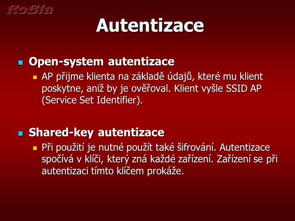 Autentizace Autentizace Open-system autentizace Open-system autentizace AP přijme klienta na základě údajů, které mu klient poskytne, aniž by je ověřoval.