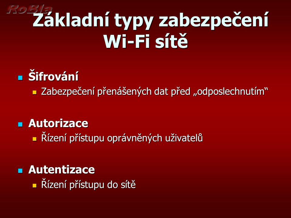 """Základní typy zabezpečení Wi-Fi sítě Základní typy zabezpečení Wi-Fi sítě Šifrování Šifrování Zabezpečení přenášených dat před """"odposlechnutím Zabezpečení přenášených dat před """"odposlechnutím Autorizace Autorizace Řízení přístupu oprávněných uživatelů Řízení přístupu oprávněných uživatelů Autentizace Autentizace Řízení přístupu do sítě Řízení přístupu do sítě"""