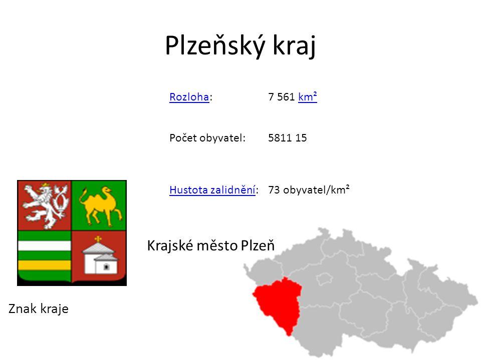 Plzeňský kraj Znak kraje RozlohaRozloha:7 561 km²km² Počet obyvatel:5811 15 Hustota zalidněníHustota zalidnění:73 obyvatel/km² Krajské město Plzeň