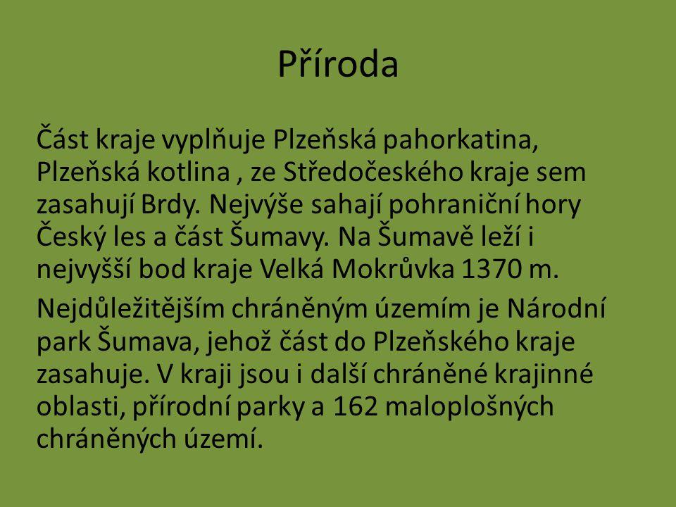 Příroda Část kraje vyplňuje Plzeňská pahorkatina, Plzeňská kotlina, ze Středočeského kraje sem zasahují Brdy. Nejvýše sahají pohraniční hory Český les