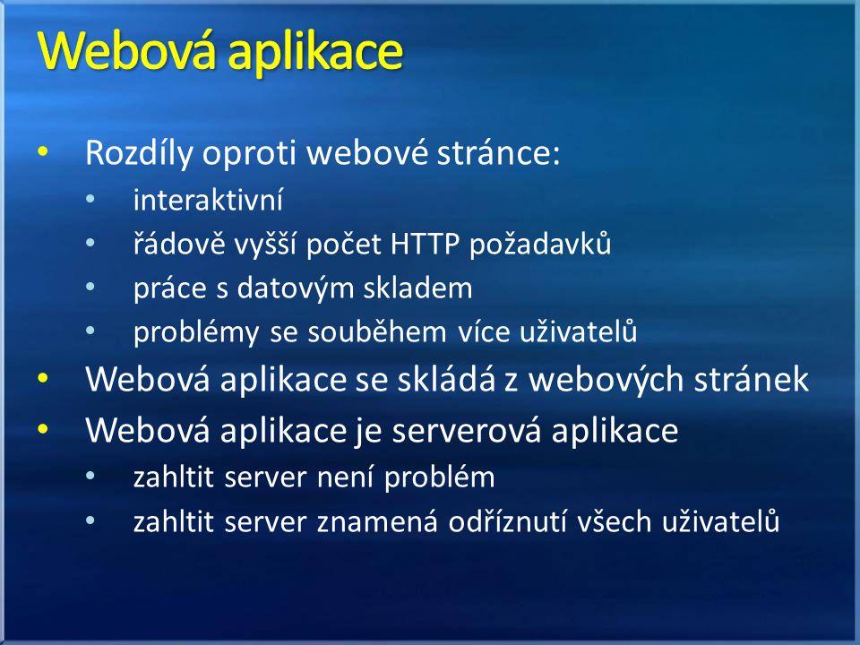 Rozdíly oproti webové stránce: interaktivní řádově vyšší počet HTTP požadavků práce s datovým skladem problémy se souběhem více uživatelů Webová aplikace se skládá z webových stránek Webová aplikace je serverová aplikace zahltit server není problém zahltit server znamená odříznutí všech uživatelů