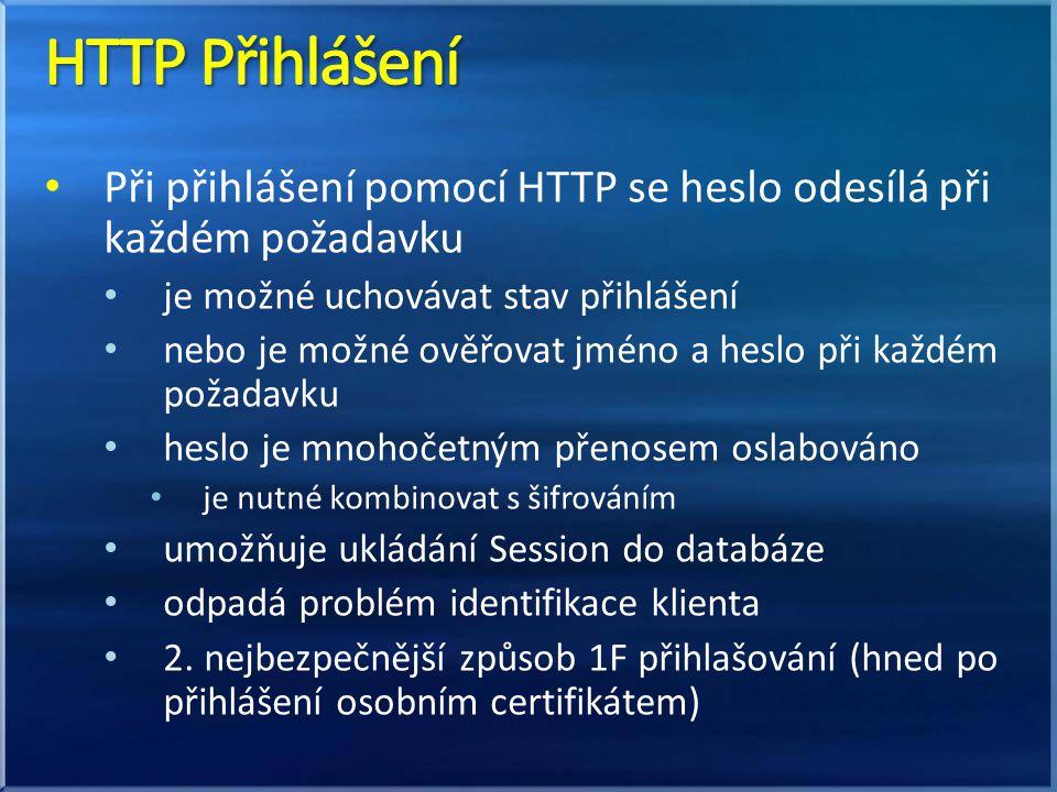 Při přihlášení pomocí HTTP se heslo odesílá při každém požadavku je možné uchovávat stav přihlášení nebo je možné ověřovat jméno a heslo při každém požadavku heslo je mnohočetným přenosem oslabováno je nutné kombinovat s šifrováním umožňuje ukládání Session do databáze odpadá problém identifikace klienta 2.