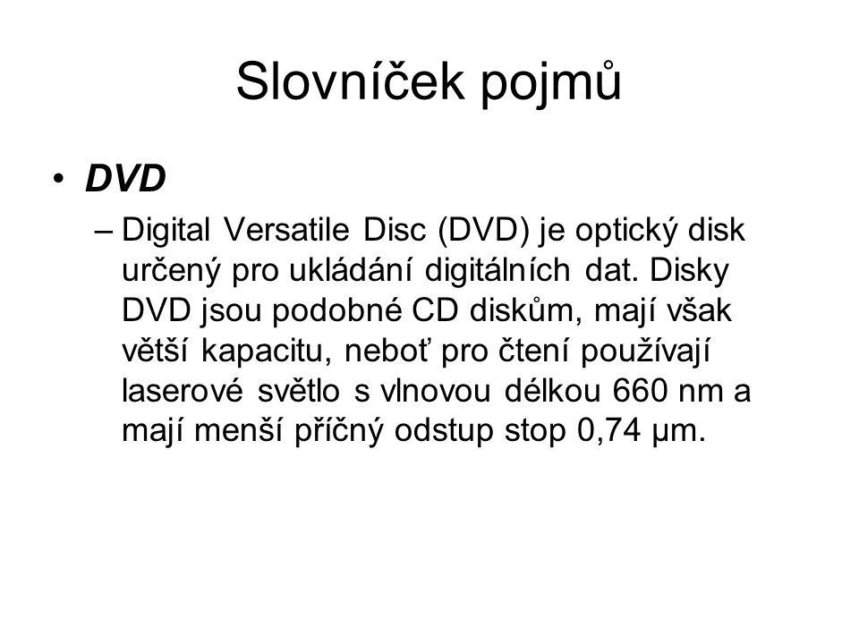 Slovníček pojmů DVD –Digital Versatile Disc (DVD) je optický disk určený pro ukládání digitálních dat.