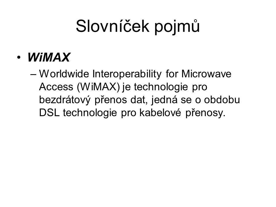 Slovníček pojmů WiMAX –Worldwide Interoperability for Microwave Access (WiMAX) je technologie pro bezdrátový přenos dat, jedná se o obdobu DSL technologie pro kabelové přenosy.