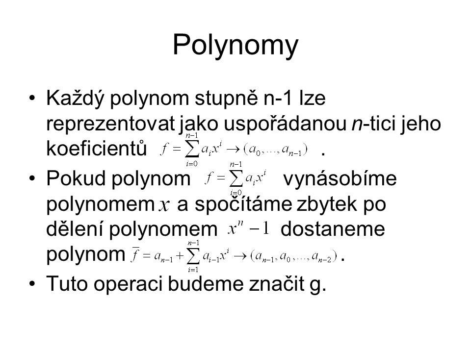 Polynomy Každý polynom stupně n-1 lze reprezentovat jako uspořádanou n-tici jeho koeficientů.