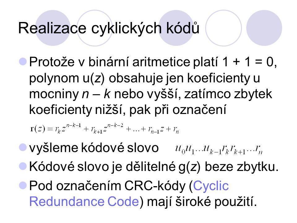 Realizace cyklických kódů Protože v binární aritmetice platí 1 + 1 = 0, polynom u(z) obsahuje jen koeficienty u mocniny n – k nebo vyšší, zatímco zbyt