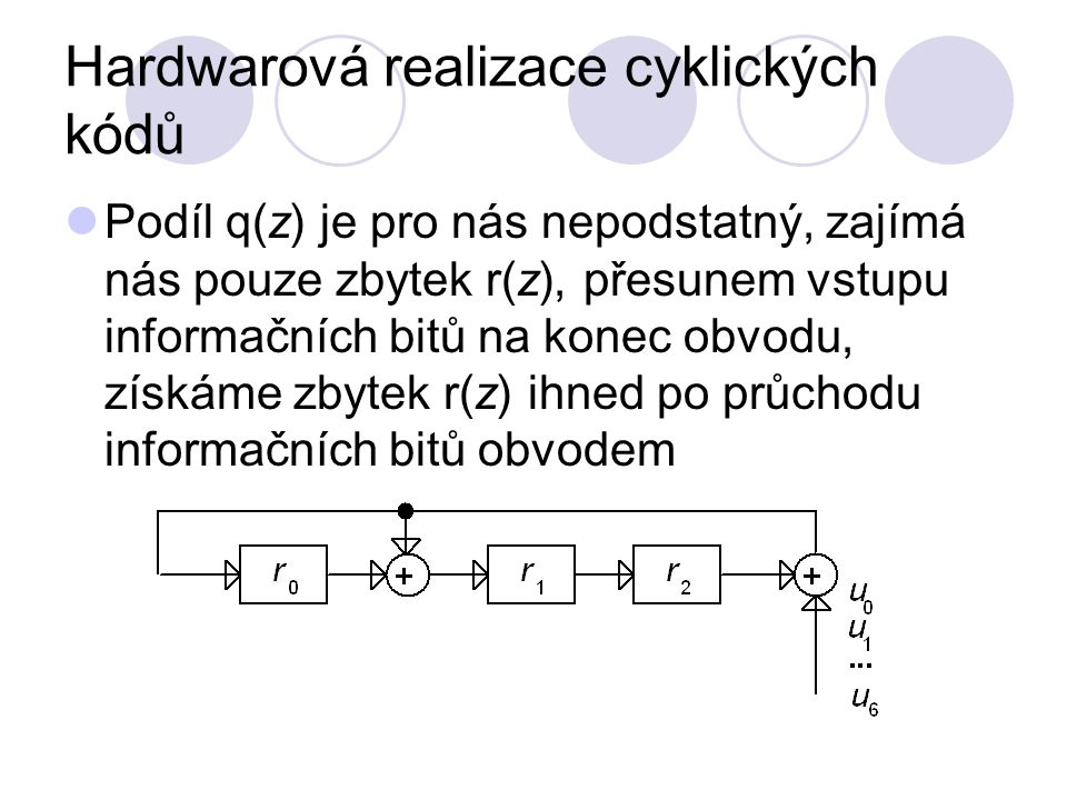 Hardwarová realizace cyklických kódů Podíl q(z) je pro nás nepodstatný, zajímá nás pouze zbytek r(z), přesunem vstupu informačních bitů na konec obvod