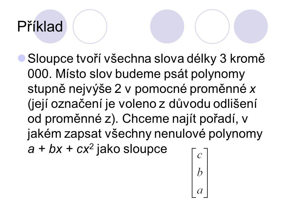 Příklad Sloupce tvoří všechna slova délky 3 kromě 000. Místo slov budeme psát polynomy stupně nejvýše 2 v pomocné proměnné x (její označení je voleno