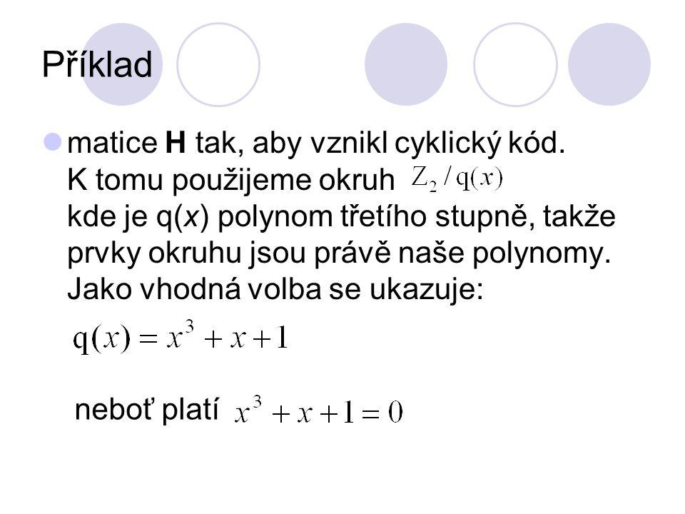 Příklad matice H tak, aby vznikl cyklický kód. K tomu použijeme okruh kde je q(x) polynom třetího stupně, takže prvky okruhu jsou právě naše polynomy.