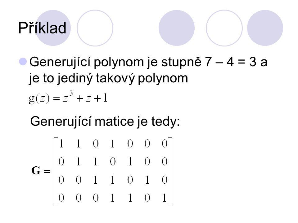 Příklad Generující polynom je stupně 7 – 4 = 3 a je to jediný takový polynom Generující matice je tedy: