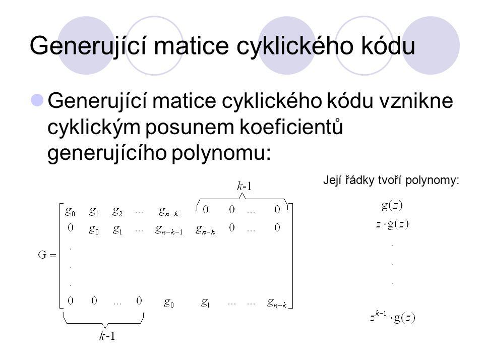 Kontrolní polynom h(z) Kontrolní polynom: Kontrolní matici cyklického (n, k)-kódu získáme cyklickými posuvy koeficientů kontrolního polynomu čteného od nejvyšší mocniny: Pro každý polynom v(z), pro který platí: splňuje kontrolní matice podmínku:
