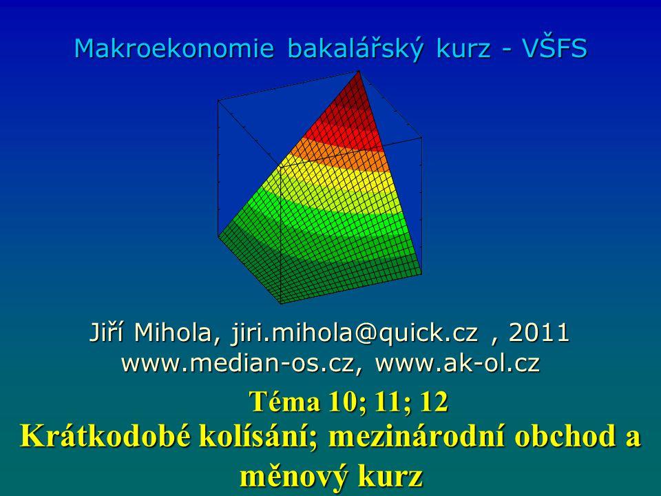 Krátkodobé kolísání; mezinárodní obchod a měnový kurz Makroekonomie bakalářský kurz - VŠFS Jiří Mihola, jiri.mihola@quick.cz, 2011 www.median-os.cz, w