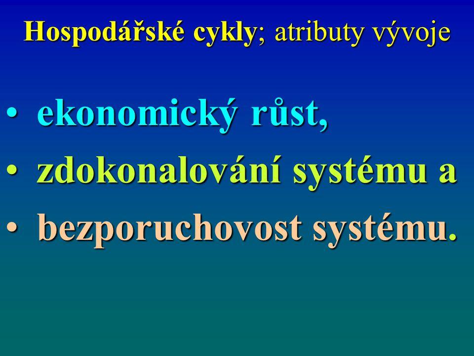 Hospodářské cykly; atributy vývoje ekonomický růst,ekonomický růst, zdokonalování systému azdokonalování systému a bezporuchovost systému.bezporuchovo
