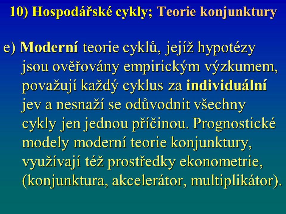 10) Hospodářské cykly; Teorie konjunktury e) Moderní teorie cyklů, jejíž hypotézy jsou ověřovány empirickým výzkumem, považují každý cyklus za individ