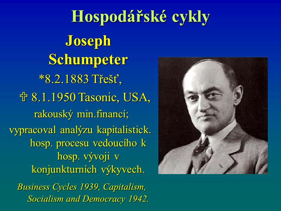 Hospodářské cykly Joseph Schumpeter *8.2.1883 Třešť,  8.1.1950 Tasonic, USA,  8.1.1950 Tasonic, USA, rakouský min.financí; rakouský min.financí; vyp
