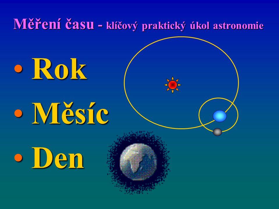 Měření času - klíčový praktický úkol astronomie Rok Rok Měsíc Měsíc Den Den