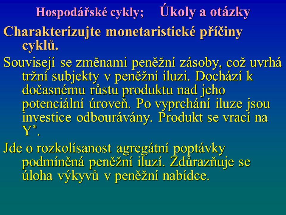 Hospodářské cykly; Úkoly a otázky Charakterizujte monetaristické příčiny cyklů. Souvisejí se změnami peněžní zásoby, což uvrhá tržní subjekty v peněžn