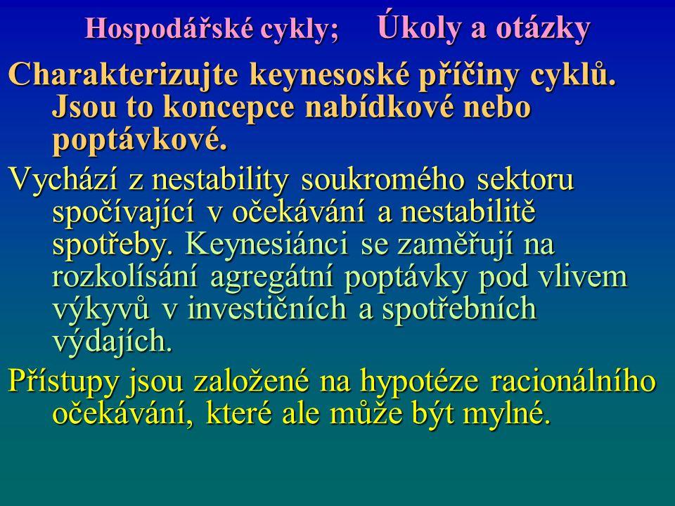 Hospodářské cykly; Úkoly a otázky Charakterizujte keynesoské příčiny cyklů. Jsou to koncepce nabídkové nebo poptávkové. Vychází z nestability soukromé