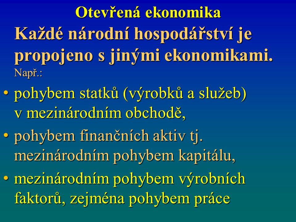 Otevřená ekonomika Každé národní hospodářství je propojeno s jinými ekonomikami. Např.: pohybem statků (výrobků a služeb) v mezinárodním obchodě, pohy