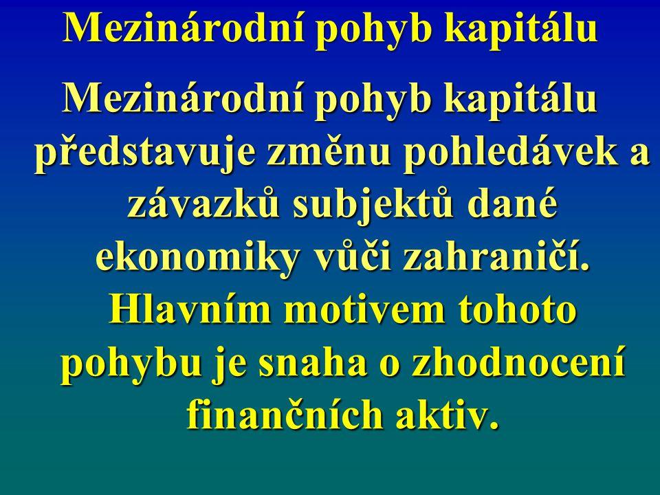 Mezinárodní pohyb kapitálu Mezinárodní pohyb kapitálu představuje změnu pohledávek a závazků subjektů dané ekonomiky vůči zahraničí. Hlavním motivem t